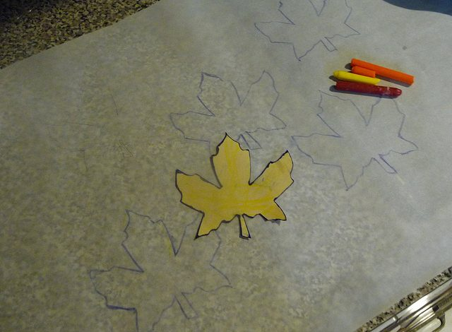 Melted Wax Crayon Leaves DIY