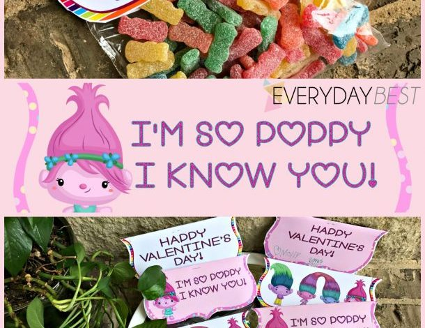 Troll Inspired Valentine Toppers {Free Printable}