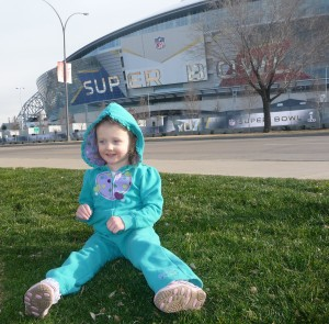 girl in front of cowboy stadium