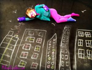flying chalk drawing slider