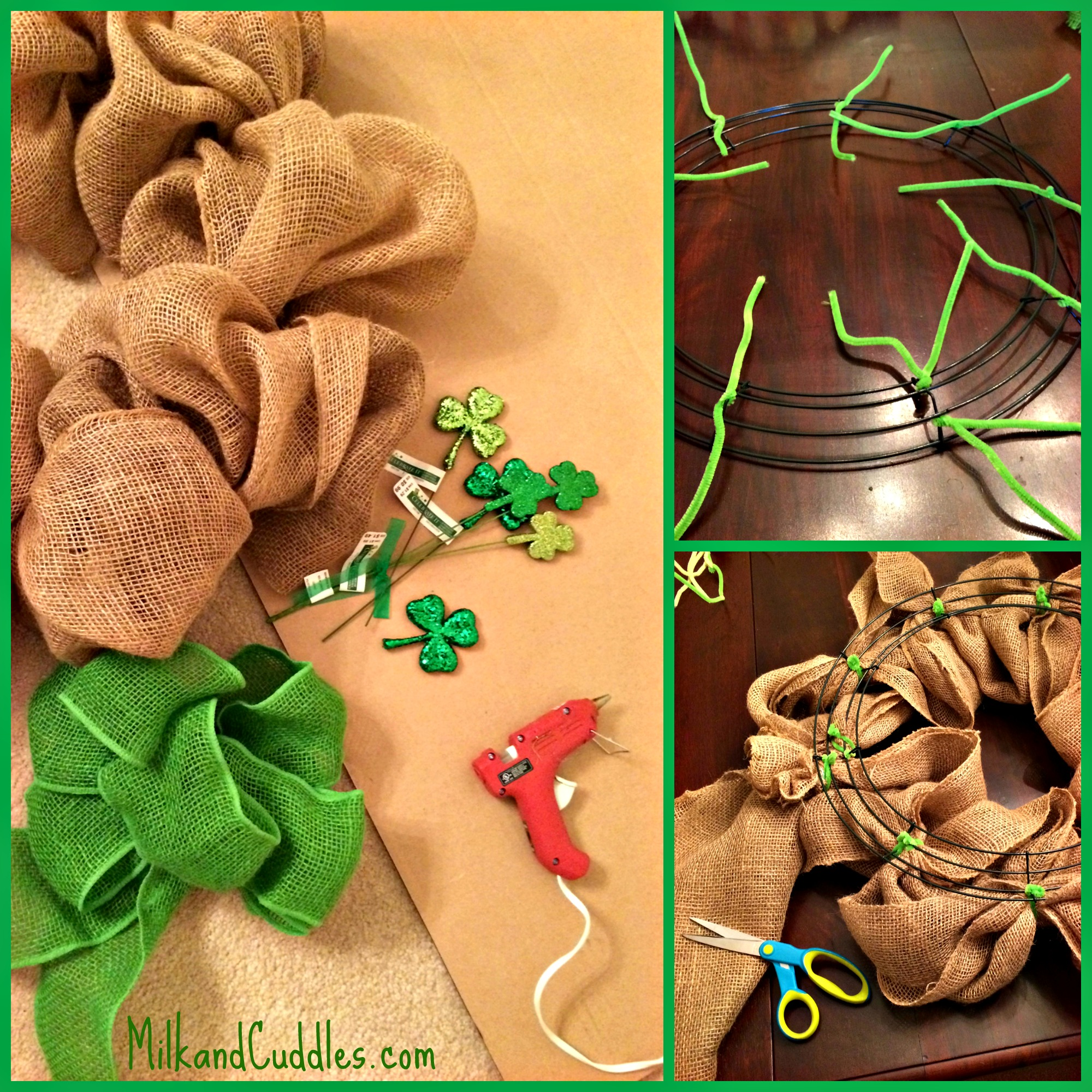 St patrick 39 s day burlap wreath everyday best for What to make with burlap