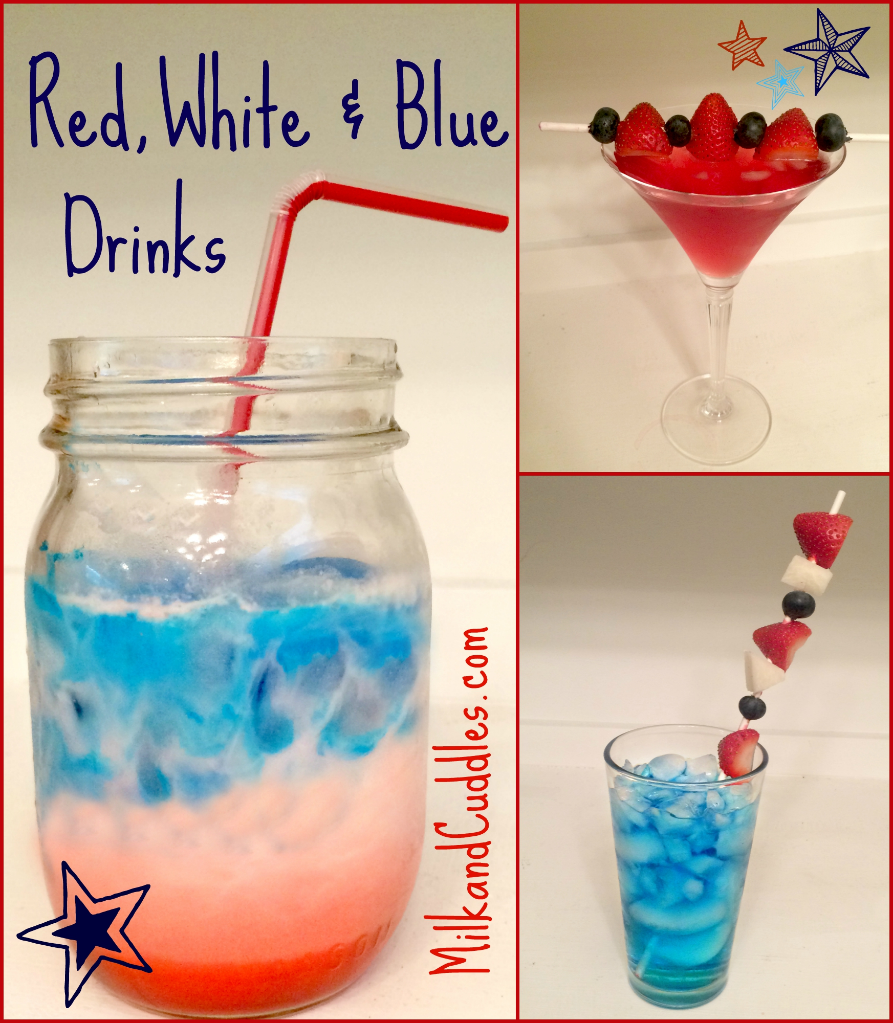 3 Easy Patriotic Drink Recipes! Red, White & Blue