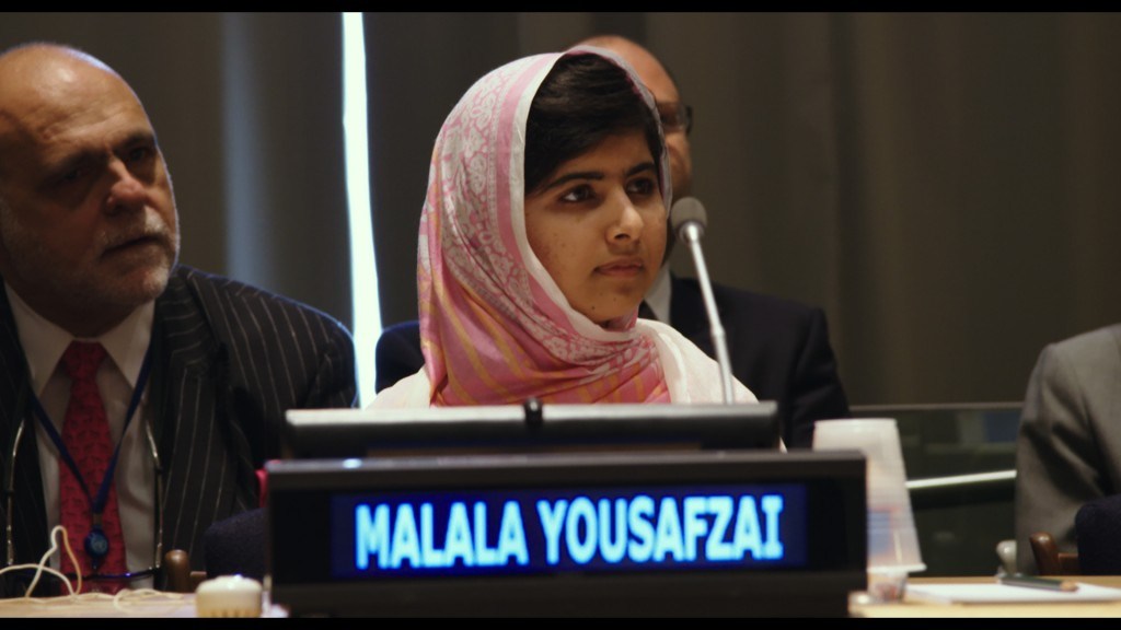HE NAMED ME MALALA: Malala Yousafzai at the United Nations General Assembly in New York City. July 12, 2013. Photo courtesy of Fox Searchlight Pictures.© 2015 Twentieth Century Fox Film Corporation All Rights Reserved