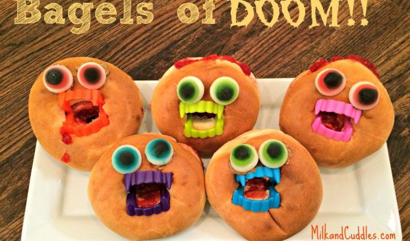 Monster Bagels! A Halloween Snack!