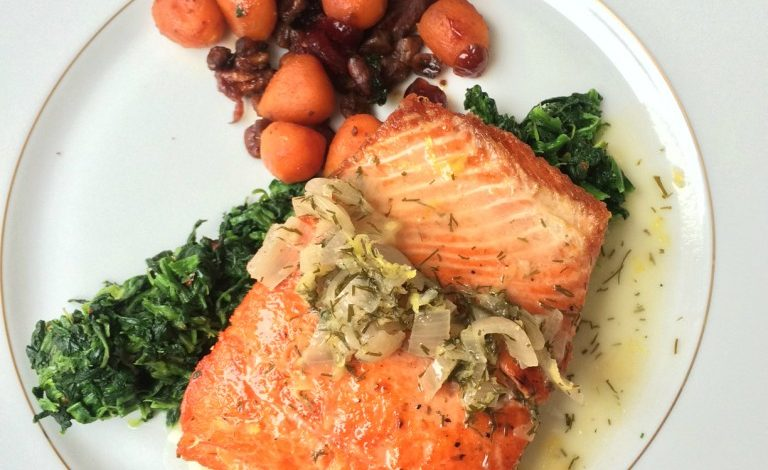 Seared Salmon w/ Lemon Dill Sauce #MarketStreetTX