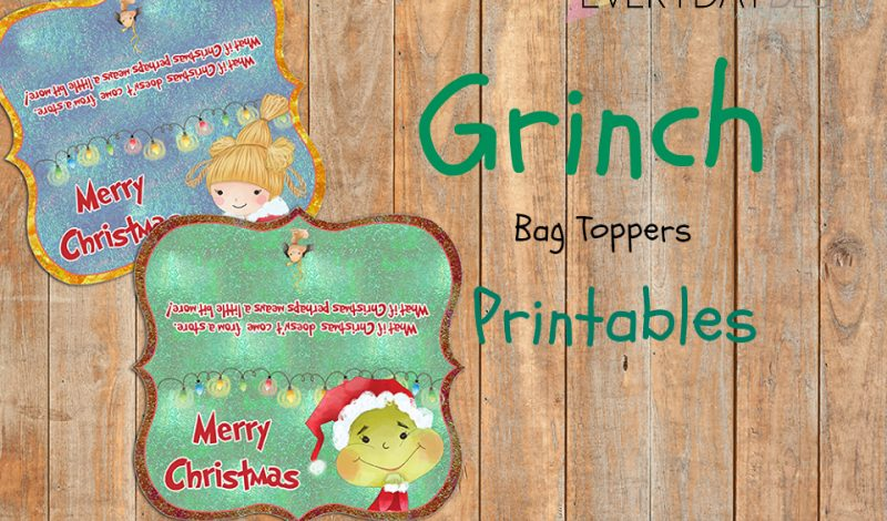 Grinch Inspired Holiday Goody Bag Toppers {Free}