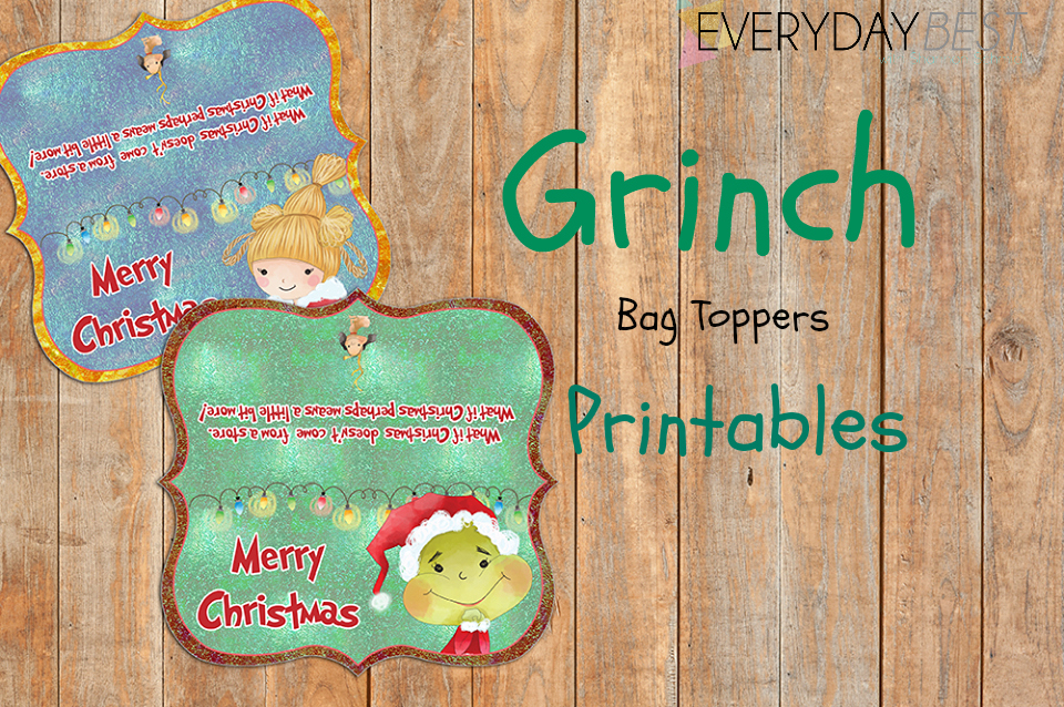 photograph regarding Christmas Bag Toppers Free Printable titled Grinch Impressed Vacation Goody Bag Toppers No cost - Day-to-day Perfect