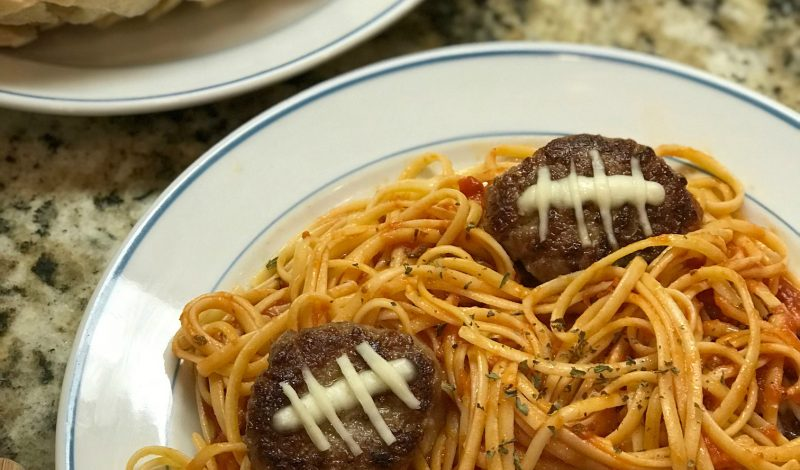 Pasta With Football Shaped Meatballs